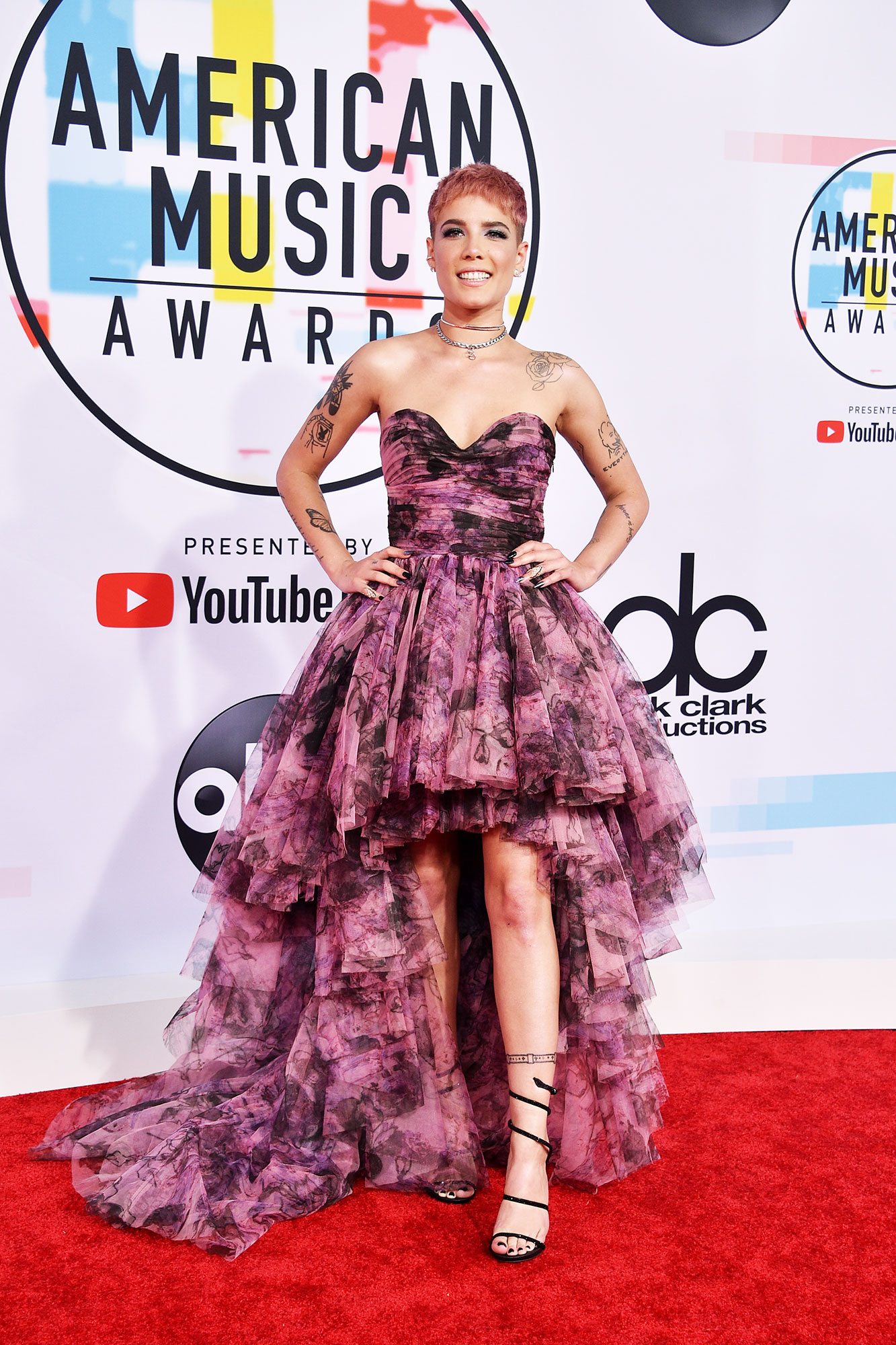 Halsey stylish - In a printed strapless tulle Redemption Haute Couture on Oct. 9.