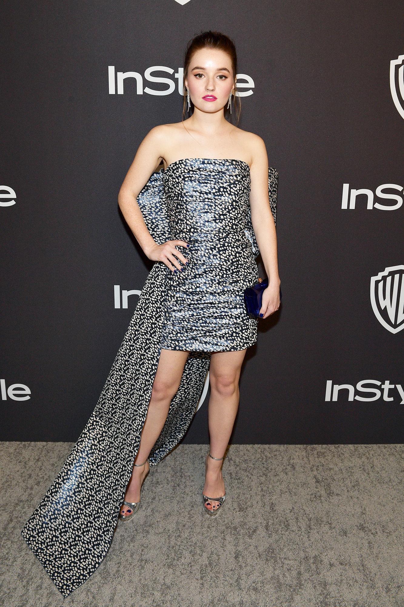 Caitlyn Dever stylish - In a $2,030 brocade jacquard Paule Ka on Jan. 6.