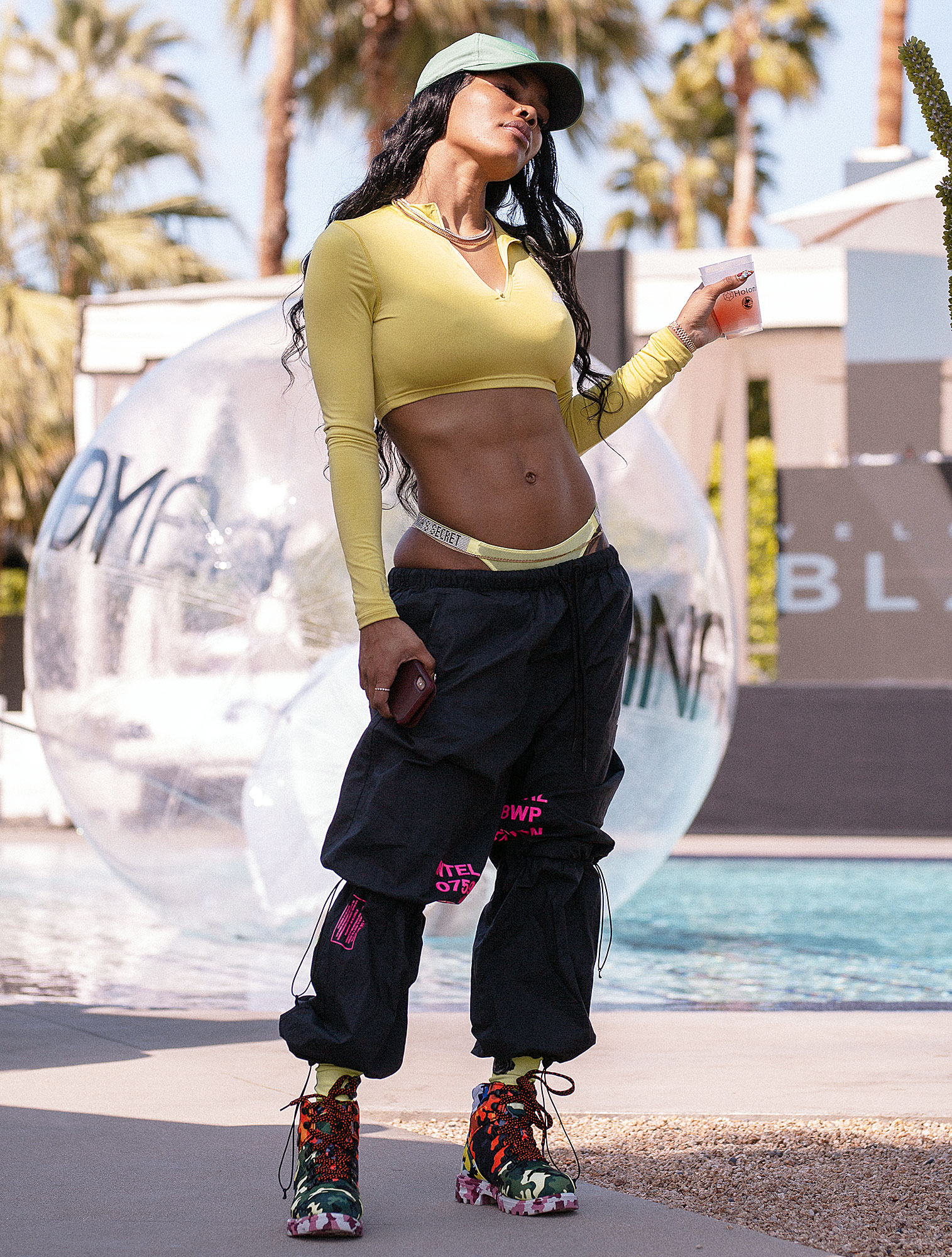 Teyana Taylor Velocity Black Desert Beach Club Coachella - The singer posed poolside at the Velocity Black Desert Beach Club Presented by Mate Bikes and Nana Judy on Friday, April 12.