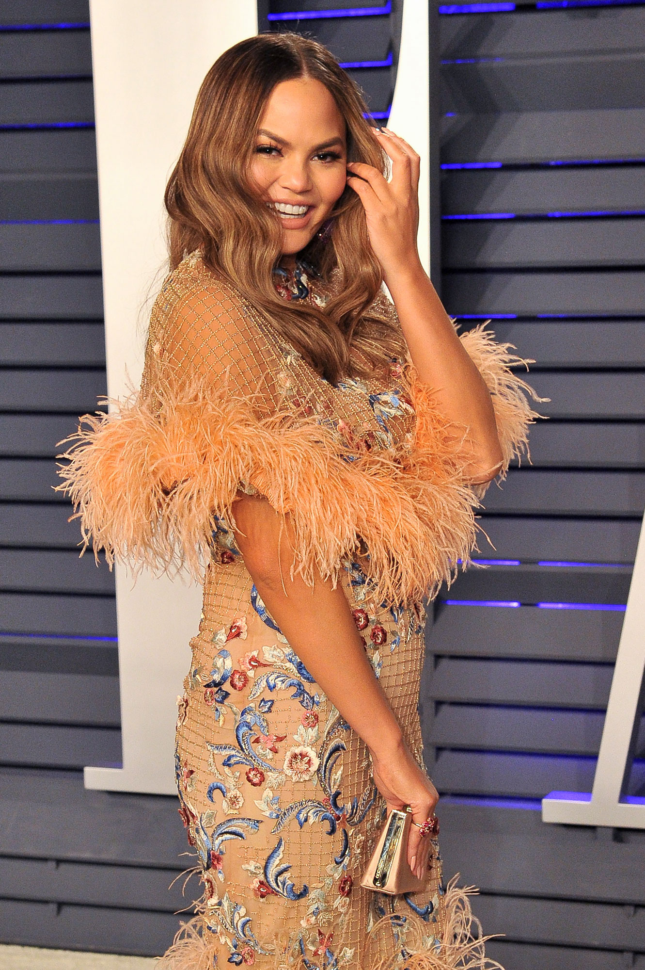 Thanksgiving in March? Chrissy Teigen Was Ready to Celebrate - Chrissy Teigen attends the 2019 Vanity Fair Oscar Party hosted by Radhika Jones at Wallis Annenberg Center for the Performing Arts on February 24, 2019 in Beverly Hills, California.