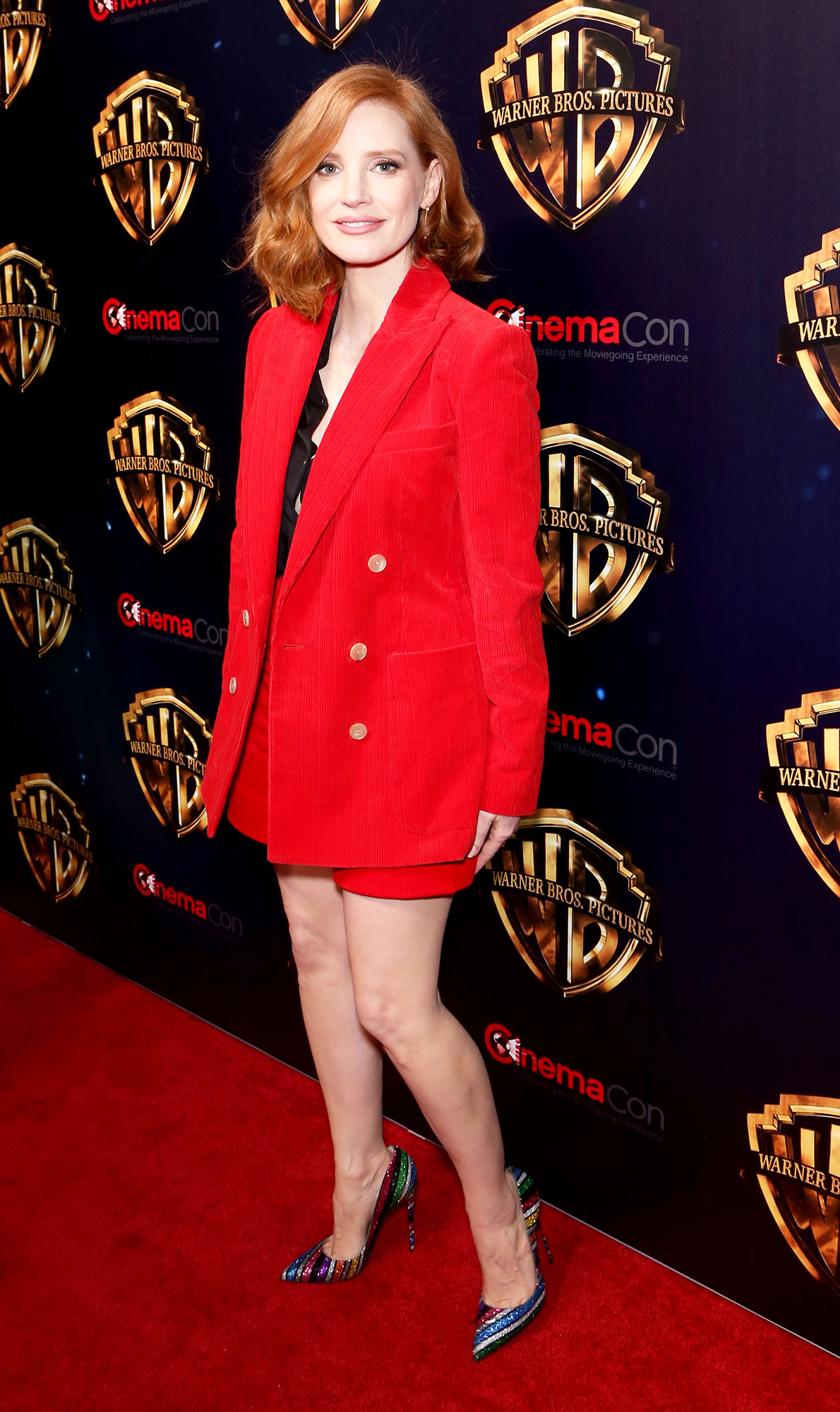 Jessica Chastain The Stars Are Bringing Their Style A-Game to CinemaCon - The redhead rocked a scarlet Bella Freud corduroy power (shorts) suit on Tuesday, April 2.