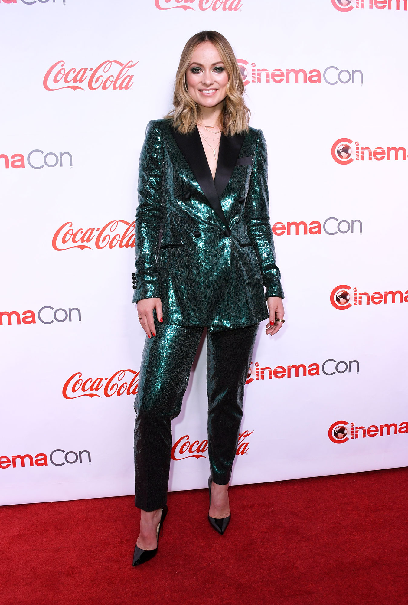 Olivia Wilde The Stars Are Bringing Their Style A-Game to CinemaCon - It was all about the sparkle for the Booksmart director on Thursday, April 4, in an Elie Saab sequined tux.