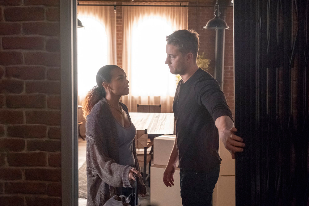 'This Is Us' Finale: Breaking Down Every New Question About Kate, Rebecca and More - Melanie Liburd as Zoe and Justin Hartley as Kevin on 'This Is Us.'