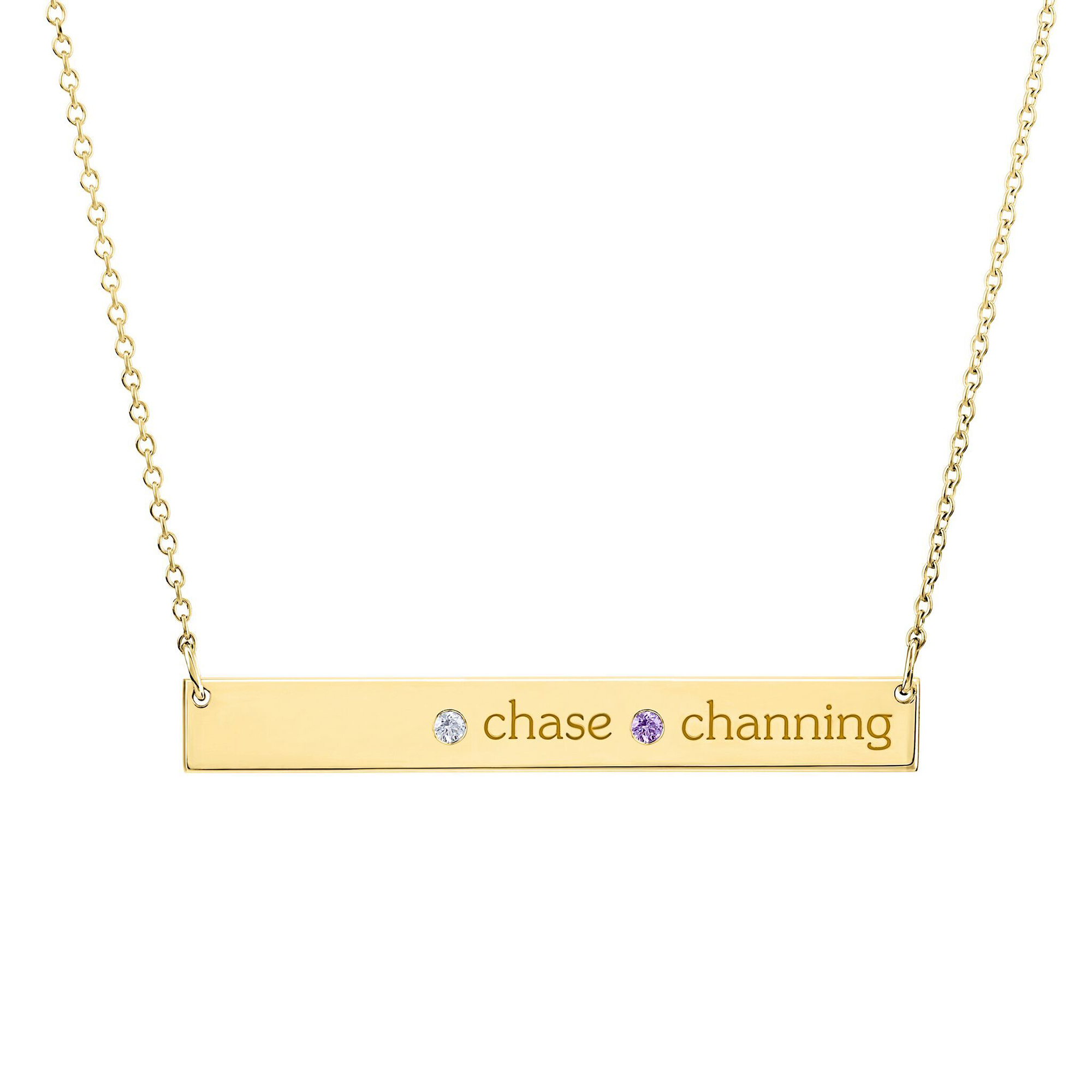 Tiny-Tags-Gold-Skinny-Bar-Necklace - Help a mother figure keep her loved ones close to her heart with a gorgeous engraved necklace. $135, tinytags.com
