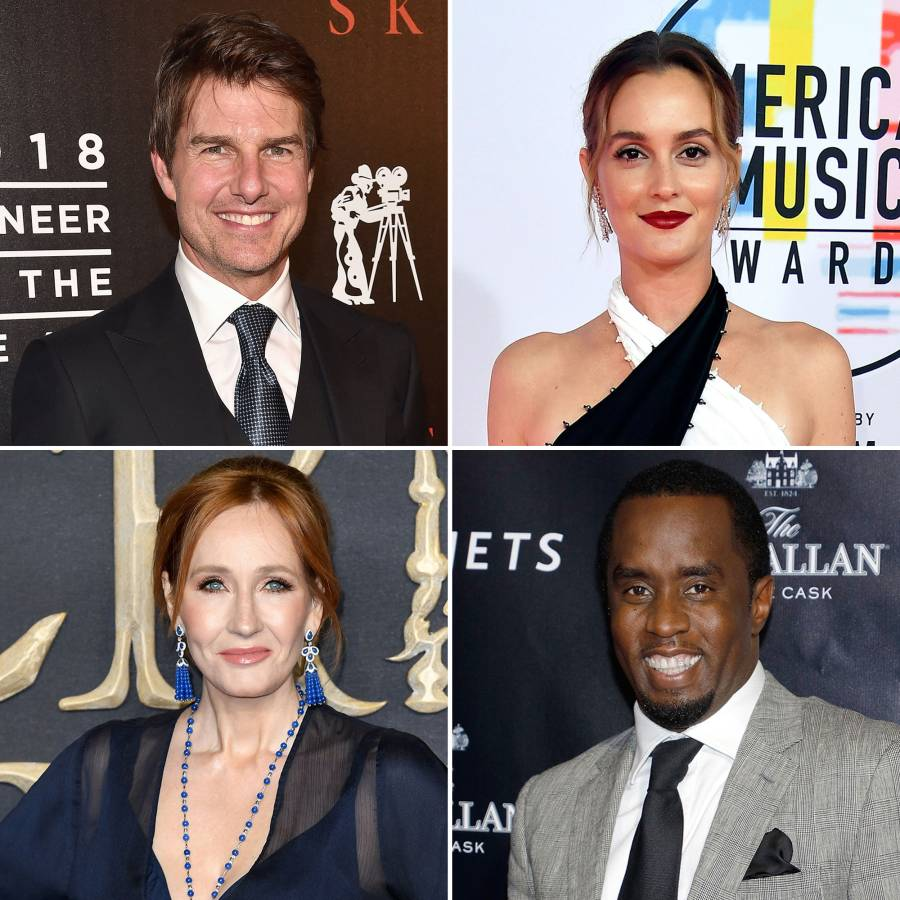 Tom Cruise, Leighton Meester, J. K. Rowling and Sean Combs