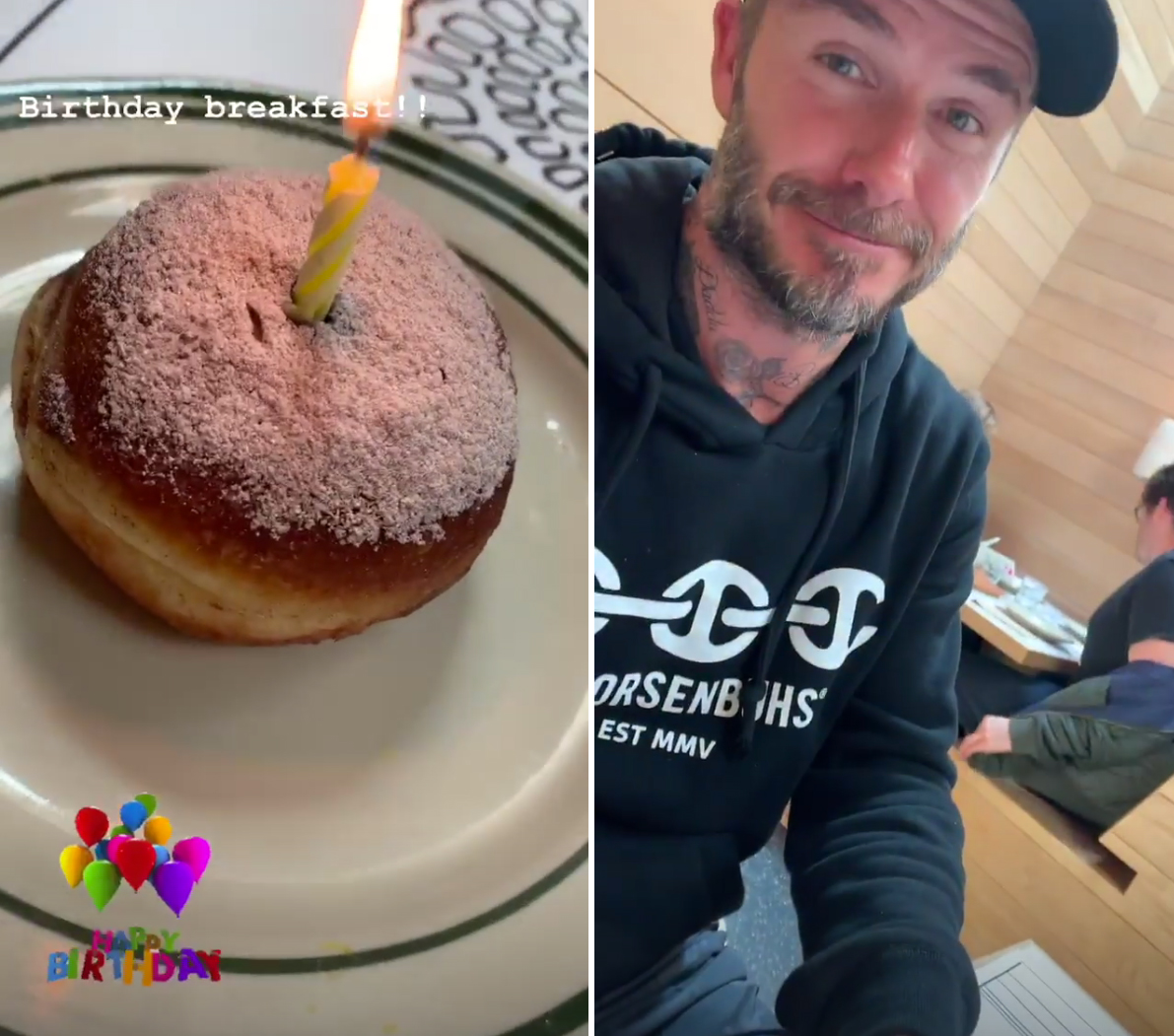 Victoria-Beckham-birthday-David-Beckham - The musician's birthday doughnut held one single candle for her to blow out after the singing was through.