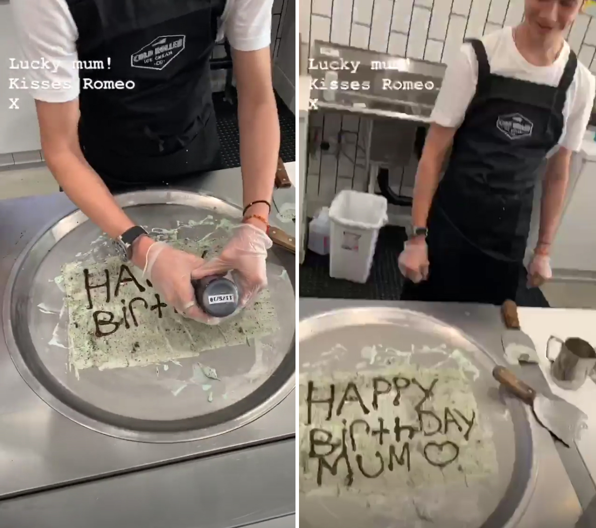 Victoria-Beckham-birthday-Romeo-ice-cream - Posh Spice's sons worked their magic on cold-rolled ice cream.