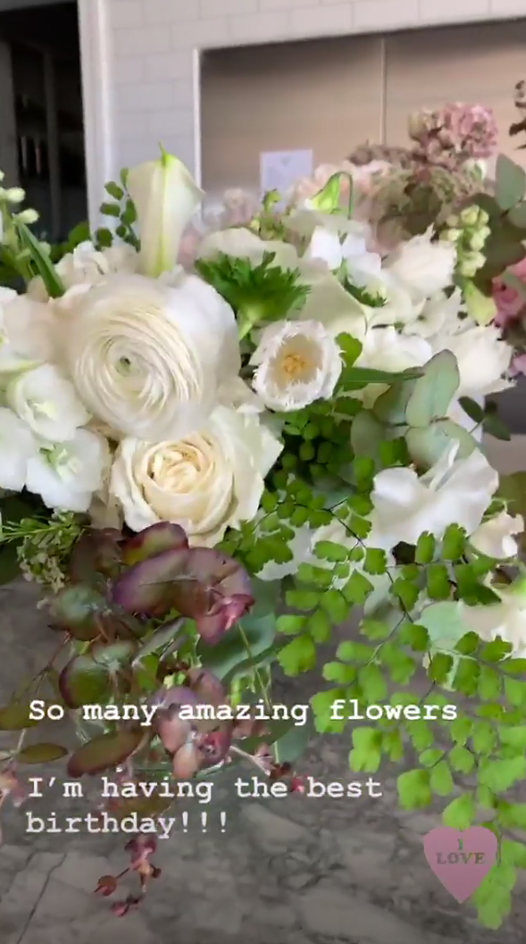 "Victoria-Beckham-birthday-flowers - ""So many amazing flowers!"" the designer captioned a Story that showed off her haul. ""I'm having the best birthday!"""