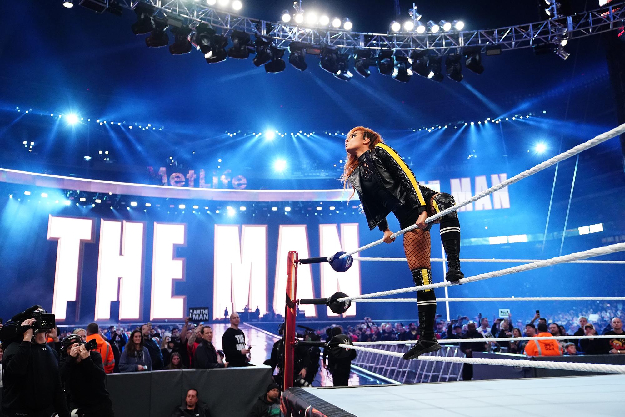 WWE Becky Lynch Slams Ronda Rousey - Becky Lynch during 'WrestleMania 35.'