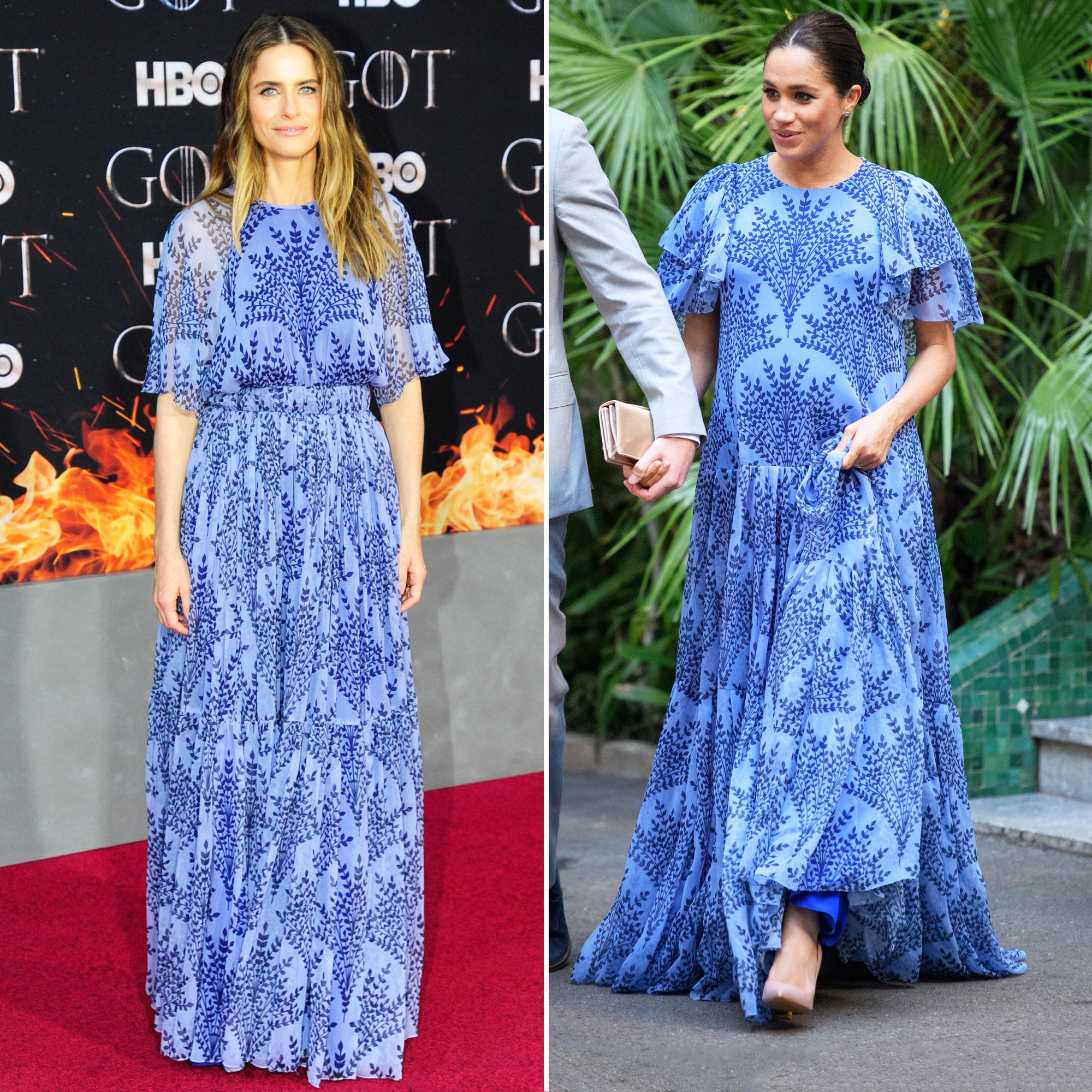 Who Wore the Carolina Herrera Dress Best: Amanda Peet or Duchess Meghan?