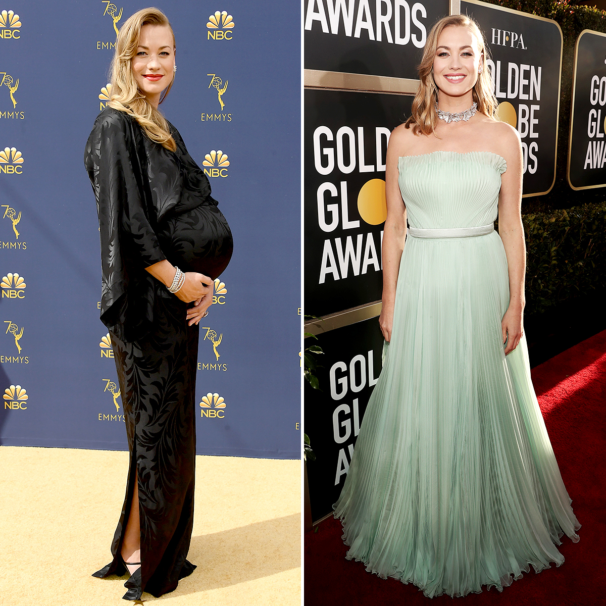 Yvonne-Strahovski-post-baby-body - The 36-year-old The Handmaid's Tale actress welcomed her first child, a son, with husband Tim Loden on October 15, 2018 — then wowed less than three months later on the red carpet at the January 6 Golden Globes. As the Dexter alum has said previously, she prefers to skip the gym and do outdoor activities like hiking, running and swimming to keep herself fit.