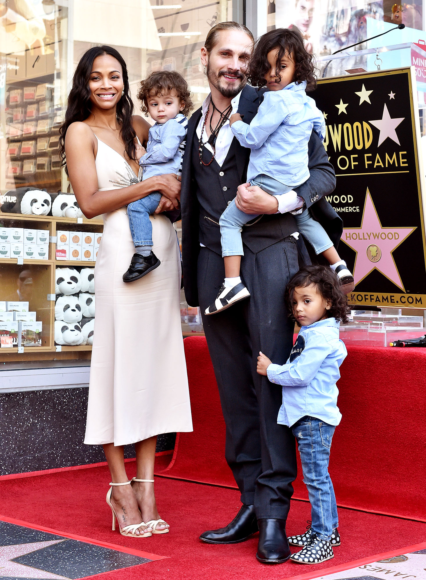Zoe Saldana and Her Husband Aren't Trying for Baby Girl After Welcoming 3 Boys: 'The Answer Is No' - Actress Zoe Saldana, Marco Perego, Bowie Ezio Perego-Saldana, Cy Aridio Perego-Saldana and Zen Perego-Saldana attend the ceremony honoring Zoe Saldana with star on the Hollywood Walk of Fame on May 3, 2018 in Hollywood, California.
