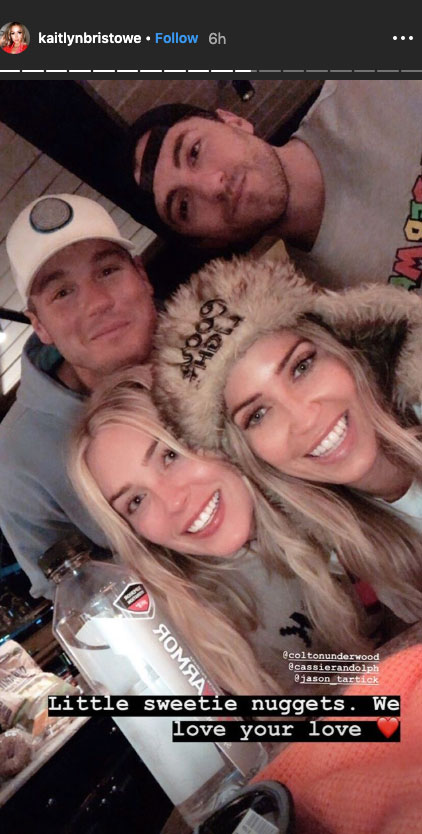 'Bachelor' Alums Colton Underwood Cassie Randolph Kaitlyn Bristowe Jason Tartick Double Date Aspen - The foursome were in high spirits and couldn't contain their laughter during their time together.