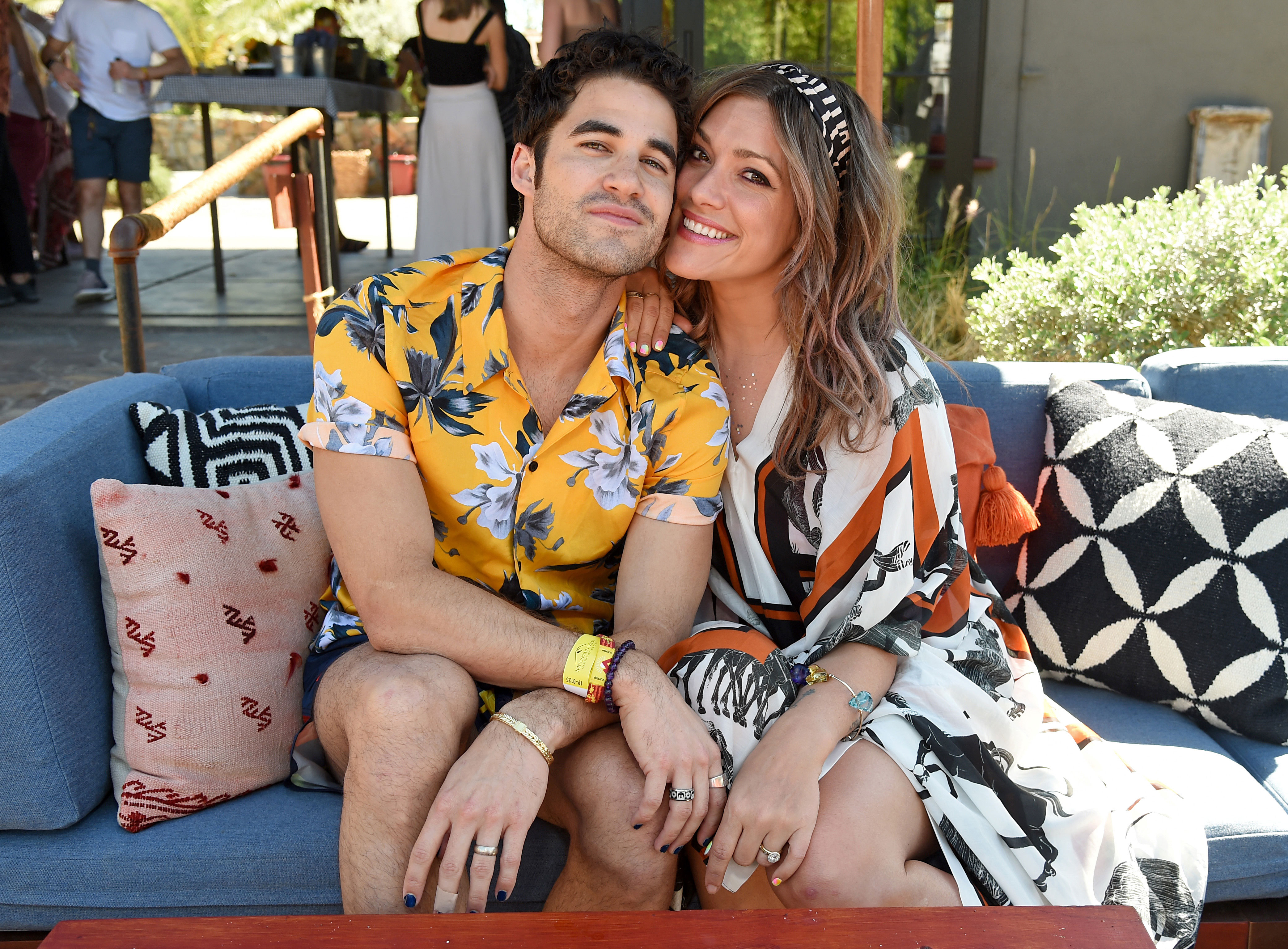 Darren Criss Mia Swier Coachella 2019 - The couple, who tied the knot in February, chilled at Poolside with H&M at Sparrow's Lodge in Palm Springs, California on Saturday, April 13.