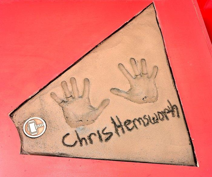 chris hemsworth handprint TCL Chinese Theatre
