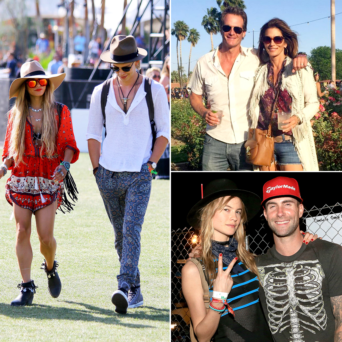 coachella-couples - There are only three things that are certain in life: death, taxes and celebrities coupling up at the annual Coachella Valley Music and Arts Festival. Since the ever-growing multi-weekend event was cofounded in 1999, A-list couples such as Adam Levine and Behati Prinsloo , Katy Perry and Orlando Bloom , and Rande Gerber and Cindy Crawford have headed to the deserts of Indio, California, to bask in the sunlight and take in good music from some of the biggest names in pop, rock, rap, electronic and indie music, among other genres.
