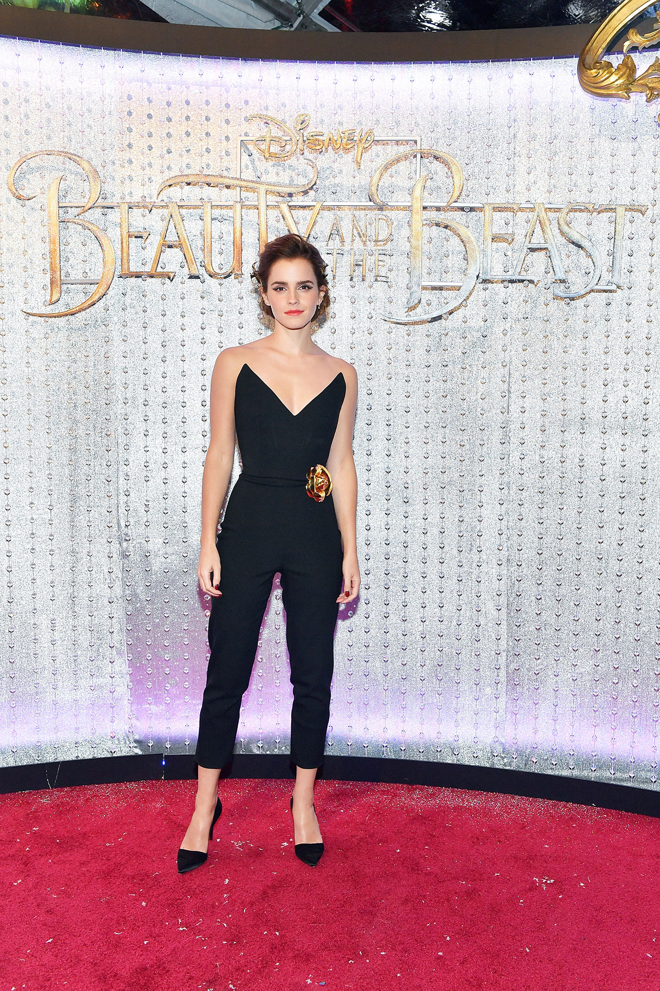 Emma Watson birthday red carpet outfits - Proving that Belle is, indeed, a badass, the British beauty rocked a black Oscar de la Renta jumpsuit at the Hollywood premiere of Beauty and the Beast .