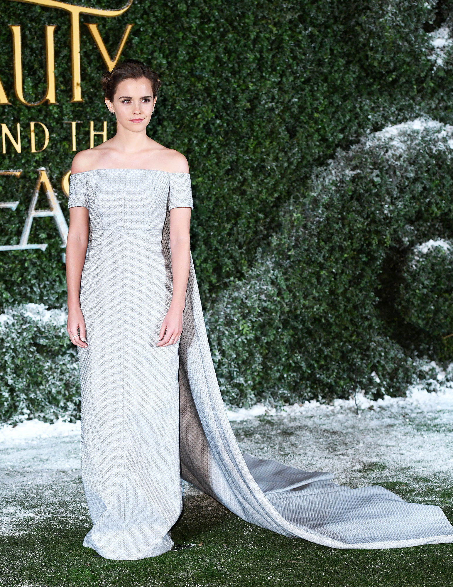 Emma Watson birthday red carpet outfits - A Disney princess IRL, the Beauty and the Beast star looked like a modern-day Belle in a pale blue Emilia Wickstead column gown at the film's London premiere.