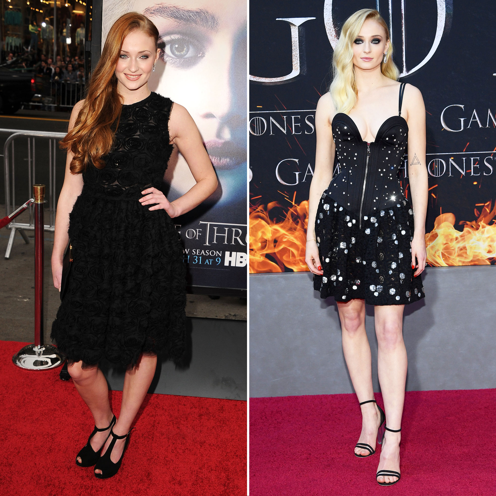 Sophie Turner 'Game of Thrones' Stars: From the First 'GoT' Red Carpet Premiere to the Last - The then-redheaded Sophie Turner was 15 years old the day Game of Thrones first aired, which means she was still a teen when she walked the carpet at the season 3 premiere. At the latest event, though, the stunning starlet, who's now in her twenties, is a blonde beauty with an impressive slate of movies in the works, including the latest X-Men flick, Dark Phoenix .