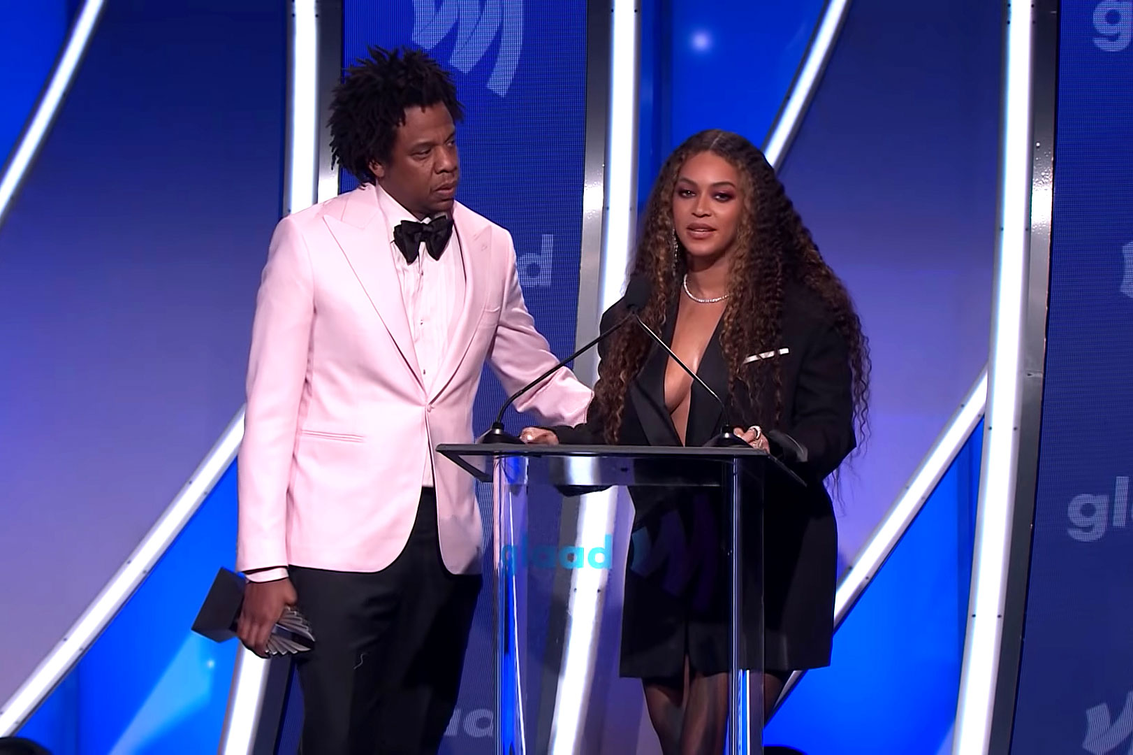 """jay-z-beyonce-2019-gallery-slide - The Carters attended the 2019 GLAAD Media Awards in L.A. to accept the Vanguard Award. During their speech, Beyoncé delivered a powerful message in support of the LGBT community before turning to Jay-Z and paraphrasing her viral """"Formation"""" lyric: """"Who you make love to — and take that ass to Red Lobster — is your human right."""""""