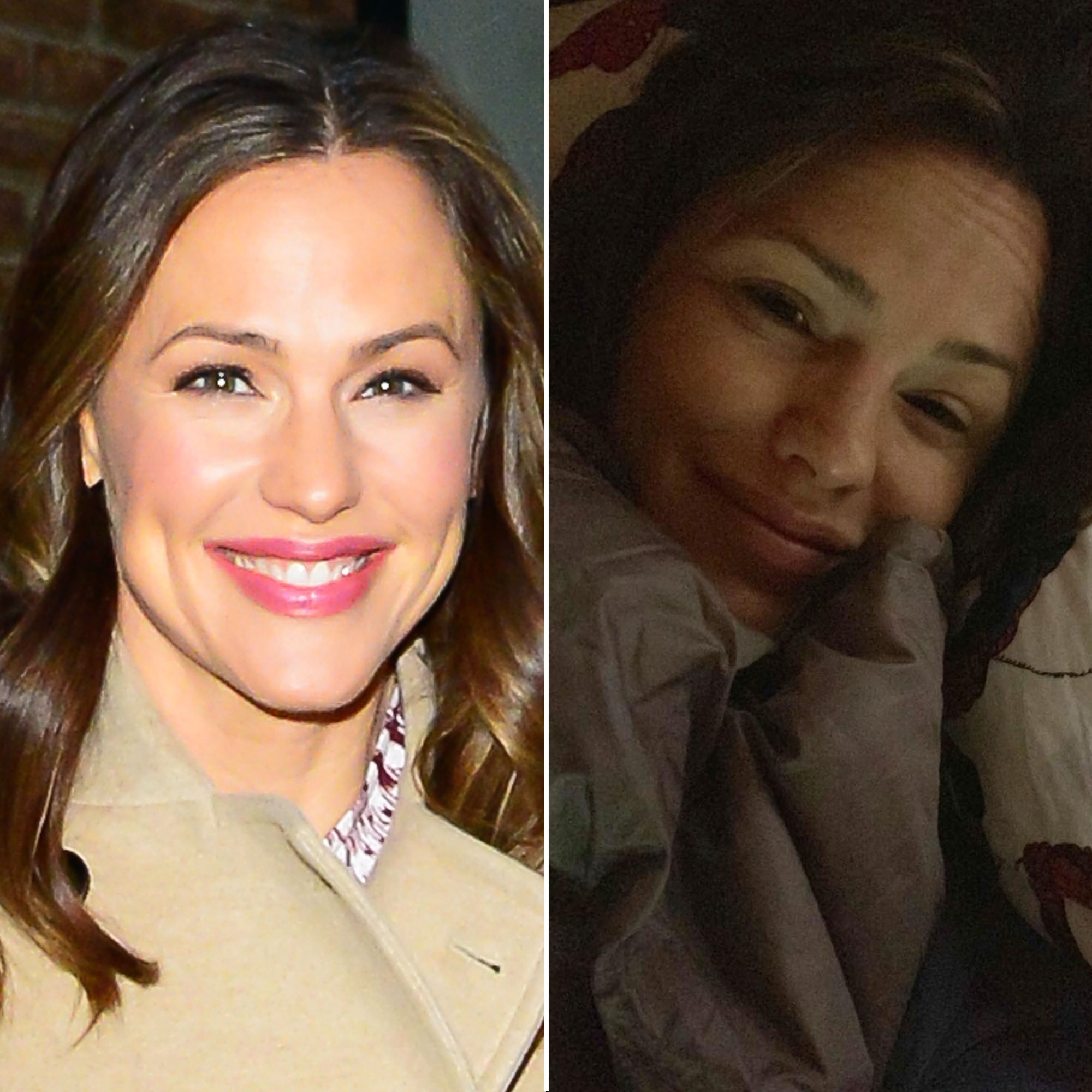Jennifer Garner makeup free selfie - The 13 Going on 30 star shared an #IWokeUpLikeThis makeup-free selfie on April 13, 2019, looking fresh-faced and absolutely beautiful cuddled up in bed.