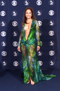 Jennifer Lopez Green Versace Grammys Dress