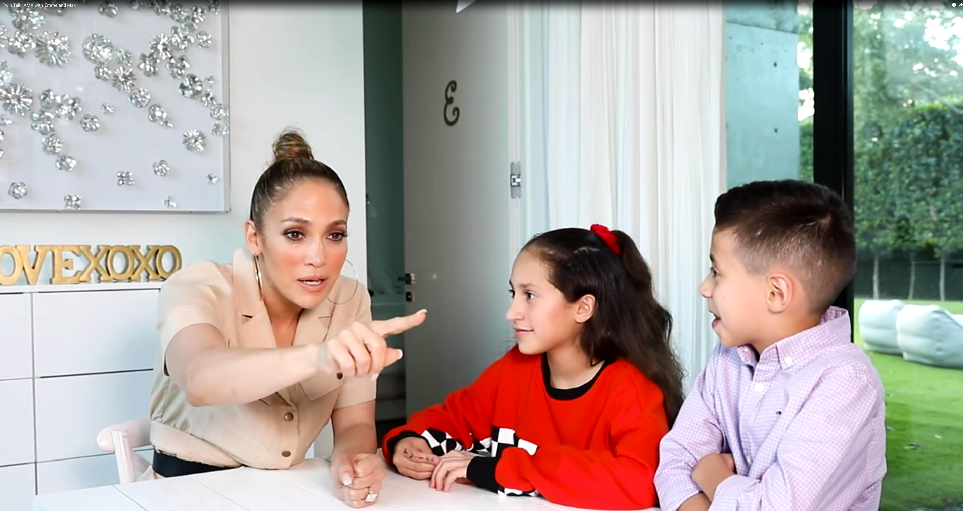 Jennifer Lopez Tells Twins How She Found Out She Was Pregnant - Jennifer Lopez, with her twins Emme and Max.