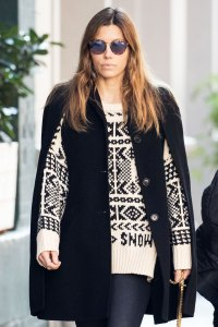 Jessica Biel jewelry sunglasses sweater hair