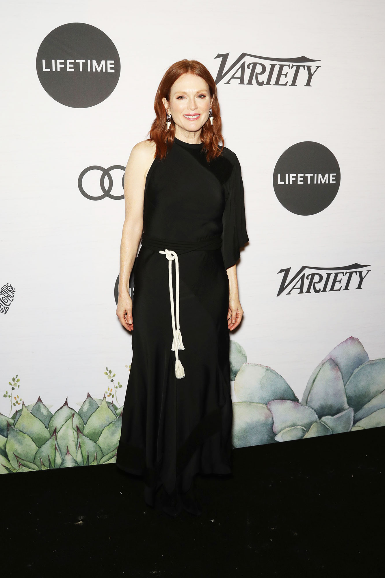 Julianne Moore Variety's Power of Women - The Oscar-winning actress wore a long black dress with a white rope tied at the waist.