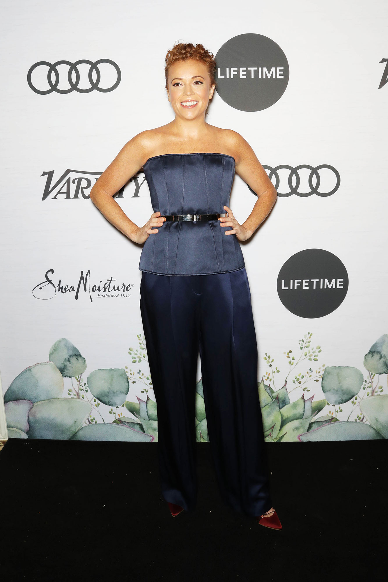 Michelle Wolf Variety's Power of Women - The luncheon's host wore a textured royal blue jumpsuit that was chic and cool.