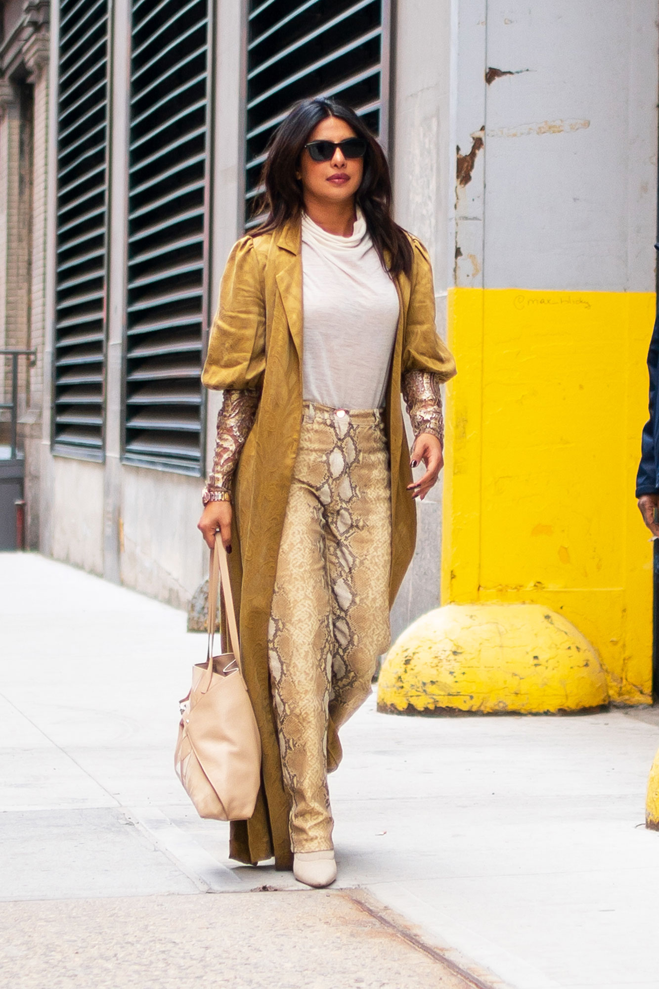 Priyanka Chopra snakeskin pants soho new york city - It was all about the monochrome for Chropa Jonas on her way to The View in Domallo python pants, a Madiyah Al Sharqi duster, Akris bag and Tony Bianco booties.