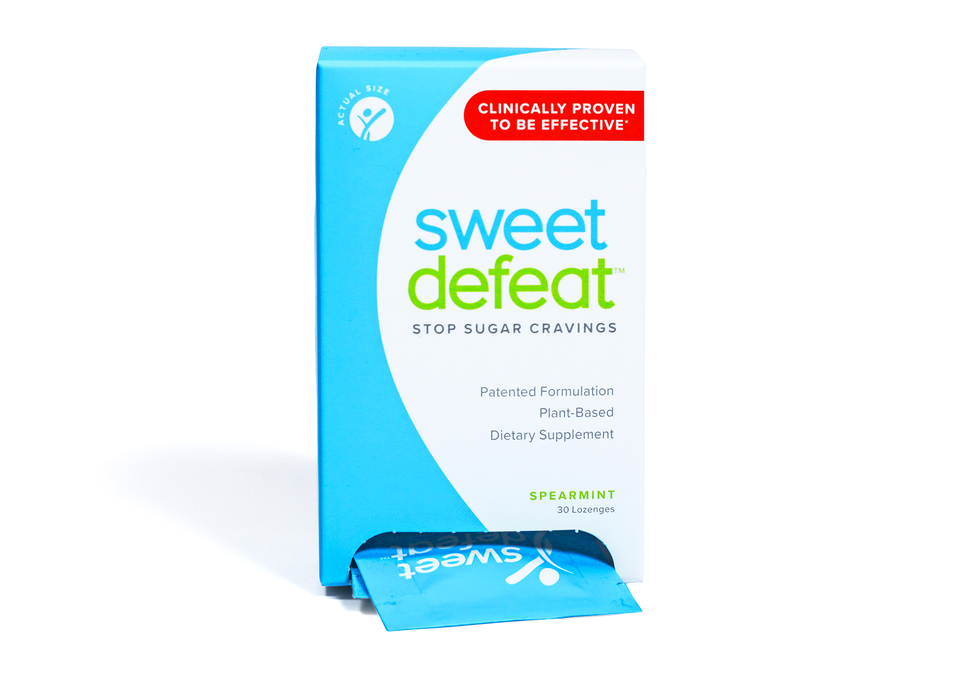 sweet-defeat - Beat the sweet! This all-natural and clinically proven minty lozenge stops sugar cravings within seconds to help you hit a 30-day sugar-reset button.