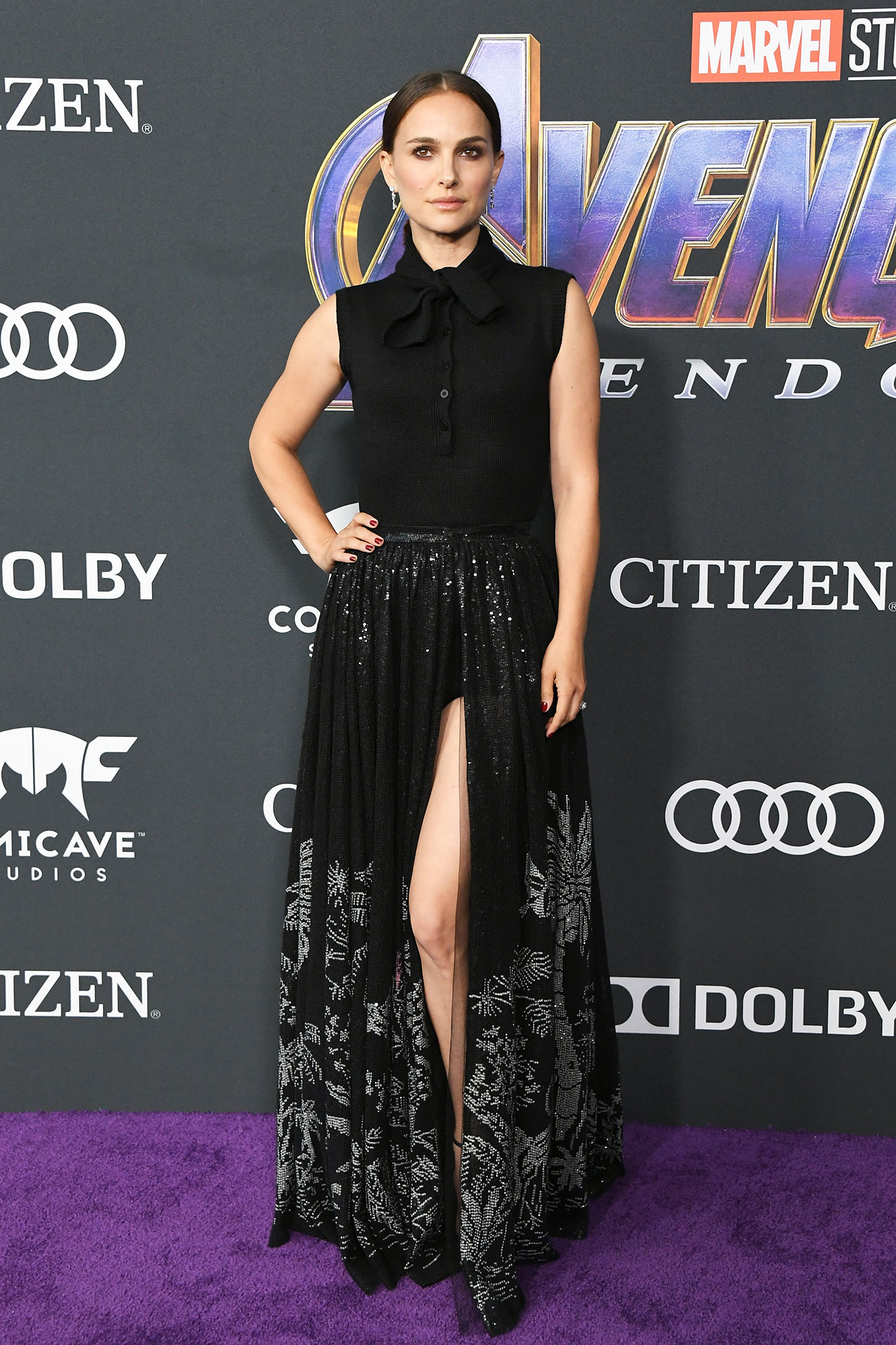 Natalie Portman Avengers Premiere - Wearing a black Dior bodysuit with a shimmering slitted skirt.