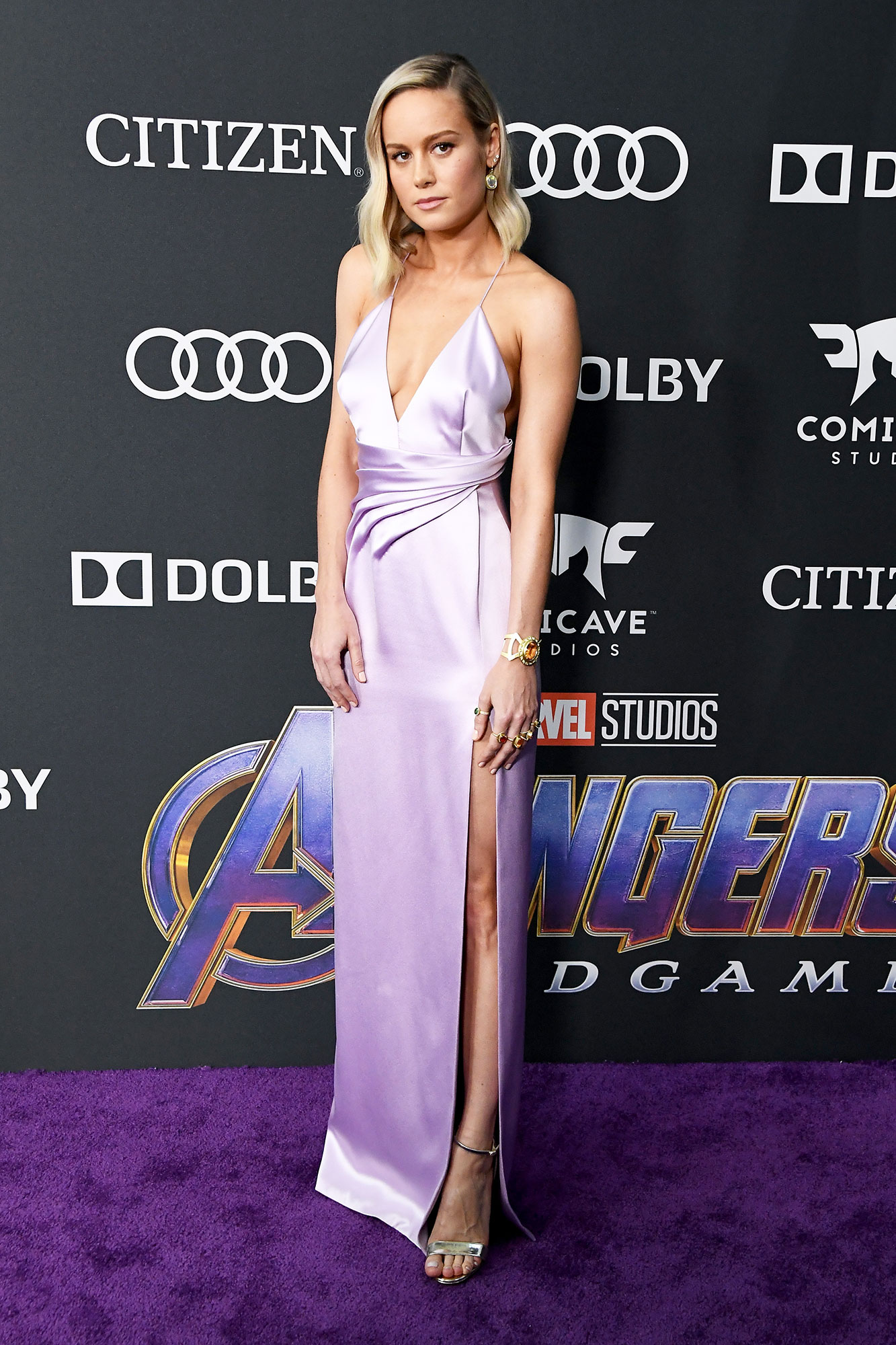 Avengers Premiere Brie Larson - Wearing a slinky lavender Celine gown and Christian Louboutin sandals.