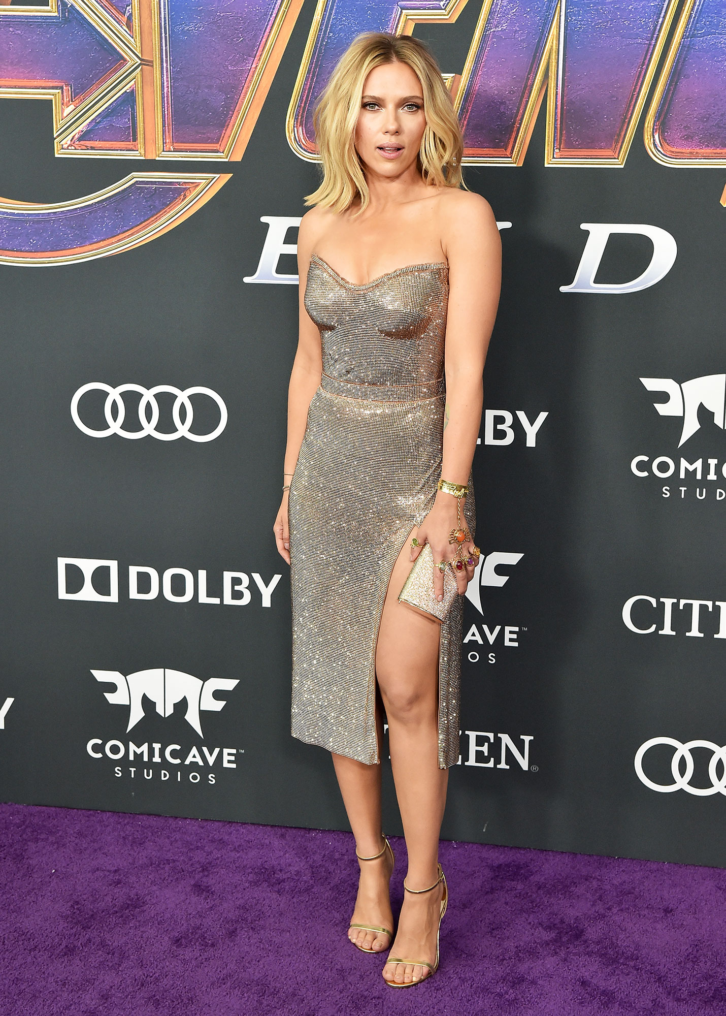 Scarlett Johansson Avengers Premiere - Wearing a sparkly Versace mini with a Jimmy Choo clutch and sandals.