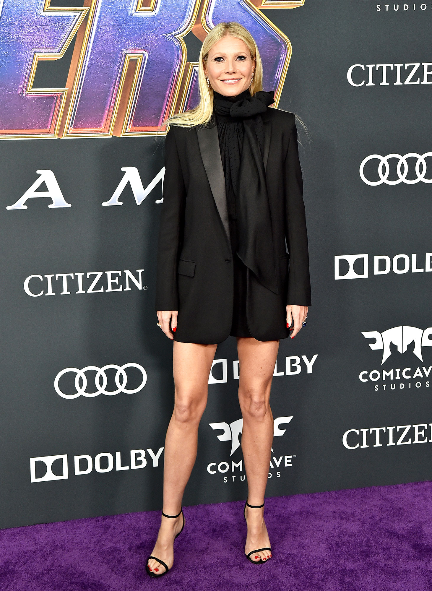 Gwyneth Paltrow Avengers Premiere - Wearing a bow blouse from her Goop G.Label under a tuxedo-inspired blazer.