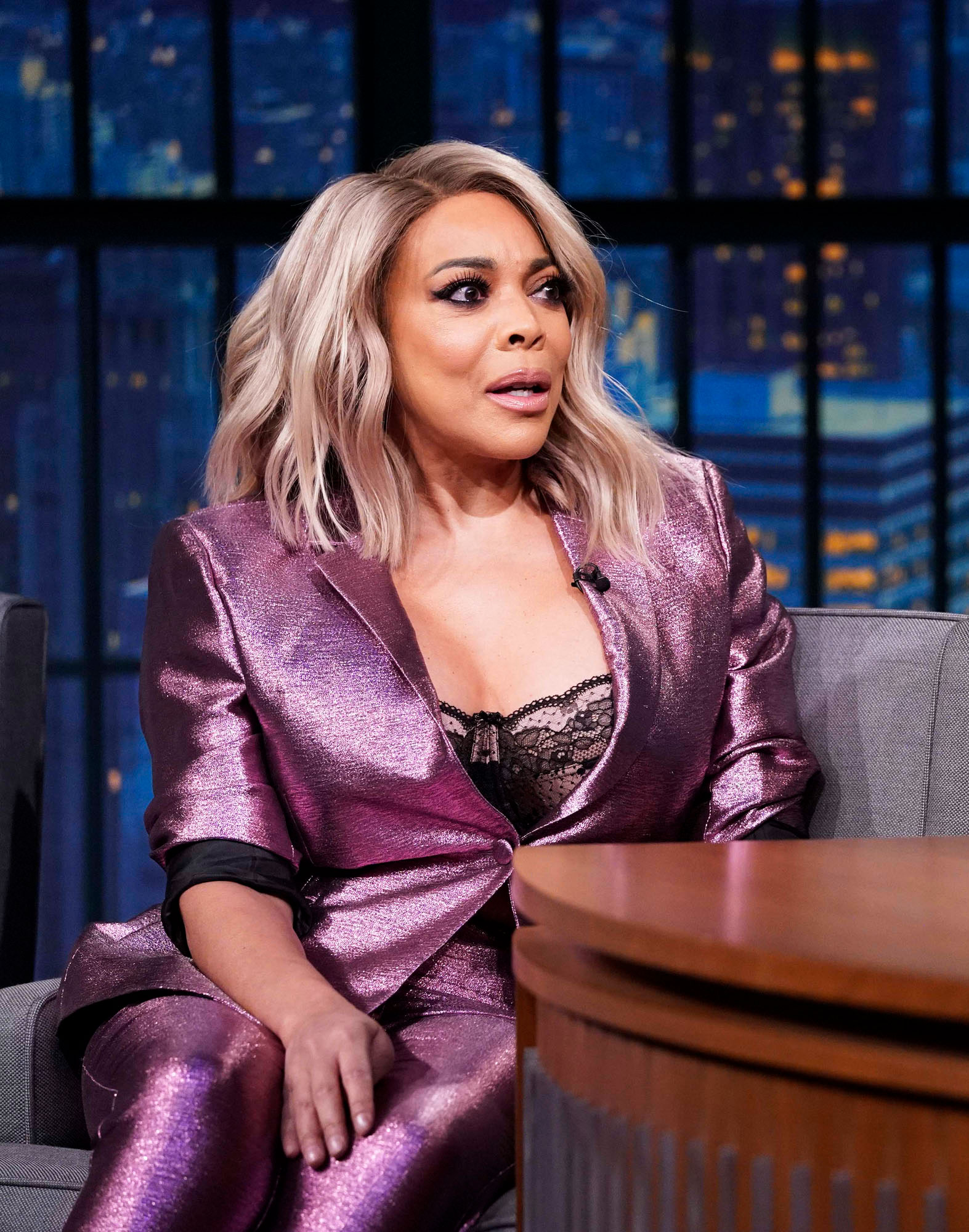 wendy williams purple suit - LATE NIGHT WITH SETH MEYERS — Episode 750 — Pictured: (l-r) Talk show host, Wendy Williams, during an interview with host Seth Meyers on October 30, 2018