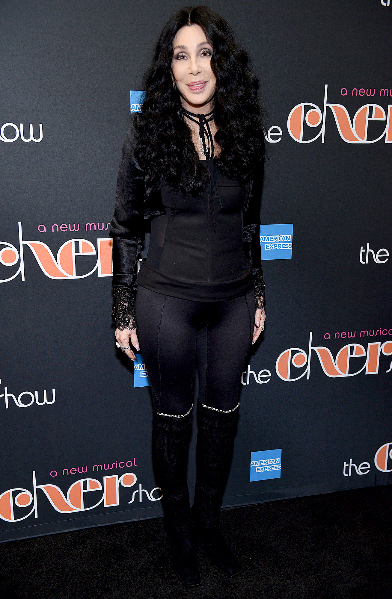 2018-Cher - Attending the Broadway show about her life, the Mask star walked the carpet in an all-black pants number with subtle lace details.