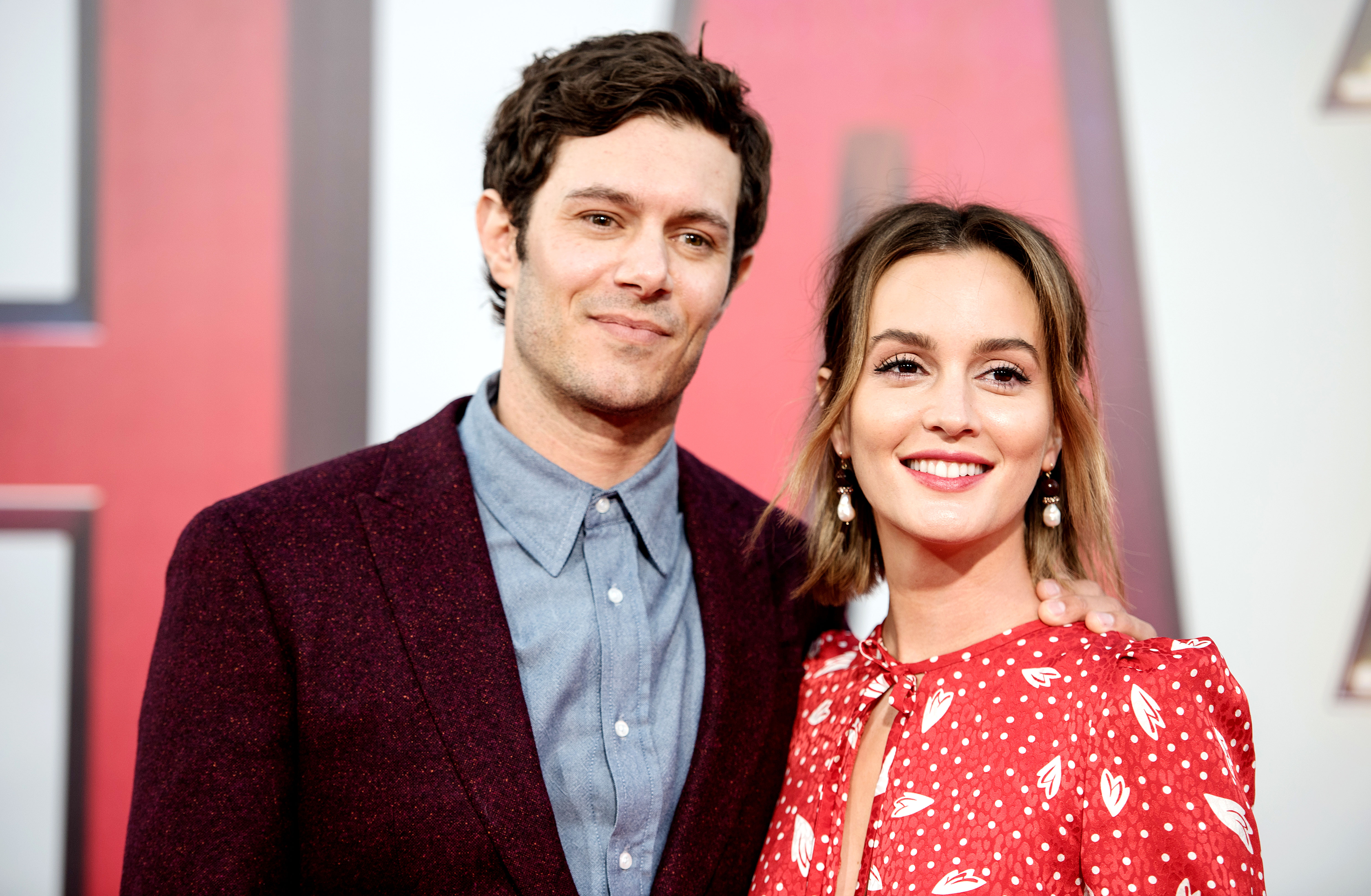 """Adam Brody Jokes Leighton Meester Doing Gossip Girl Revival - Adam Brody and Leighton Meester at the world premiere of """"SHAZAM!"""" at TCL Chinese Theatre on March 28, 2019 in Hollywood, California."""