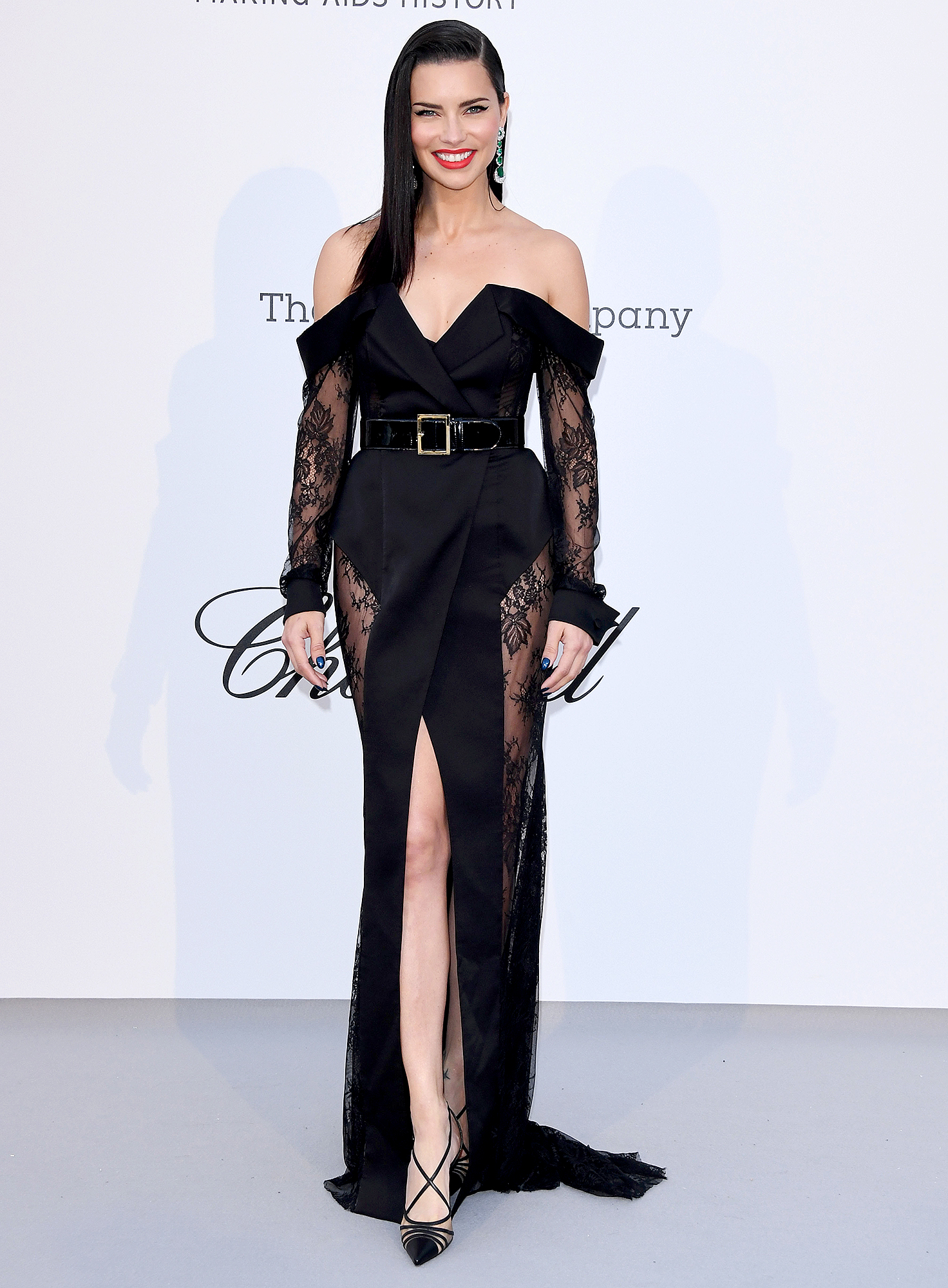 Adriana-Lima - The model was a lacy lady in her off-the-shoulder Ester Abner number at the amFAR Cannes Gala on Thursday, May 23.