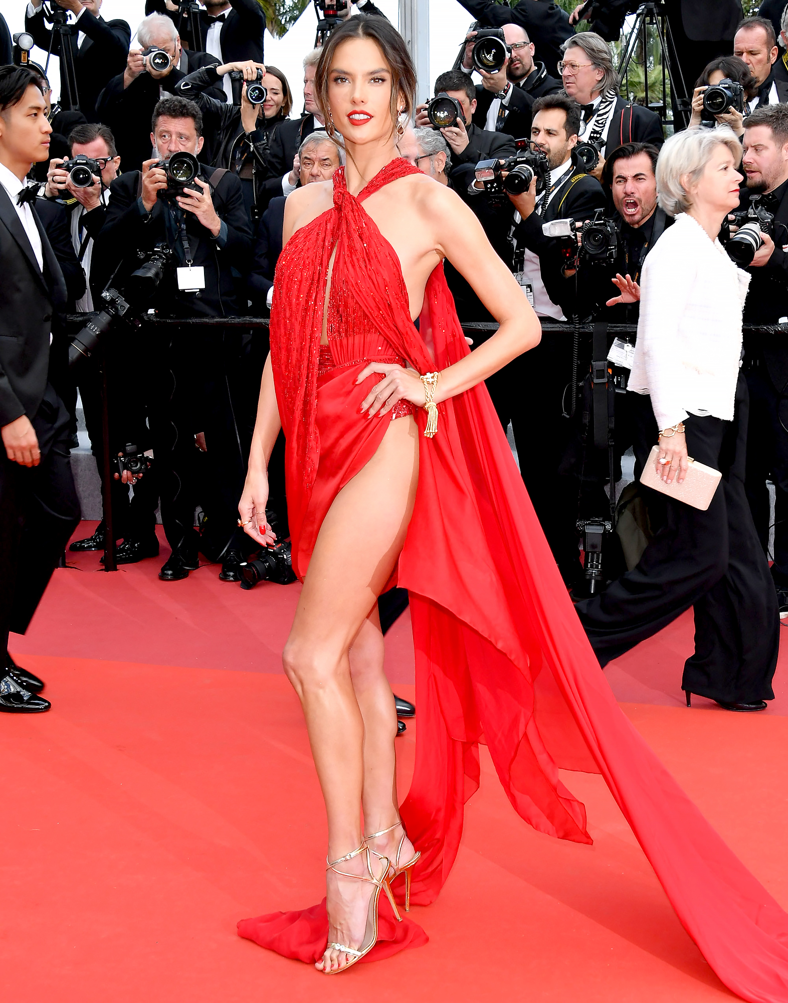 Alessandra-Ambrosio-Cannes-Festival - Red hot! The model matched the carpet at the Les Miserables premiere on Wednesday, May 15, in a nearly naked Julien Macdonald number.