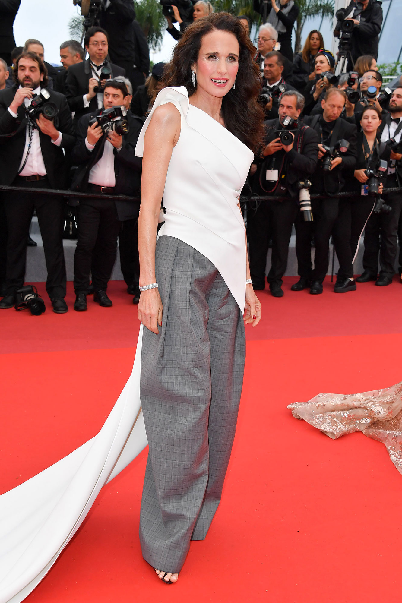 Stepping Out in Style at Cannes Film Festival - She wears the pants! The actress rocked Alaïa trousers with her one-shoulder Toni Maticevski top and Chopard jewels at the Les Plus Belles Annees D'Une Vie screening on Saturday, May 18.