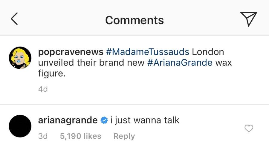 Ariana Grande Wax Figure Coment