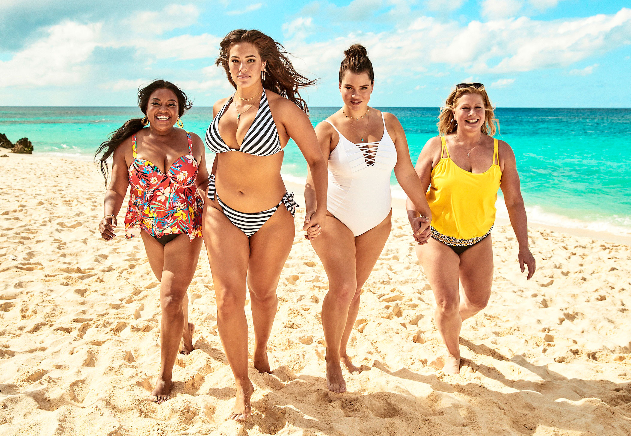 Ashley Graham Sherri Shepherd Lead Body-Positive Swim Campaign - The swim line offers a diversity of designs in their line — from bikinis to one-pieces to tankinis to swimdresses to bike shorts and beach dresses.