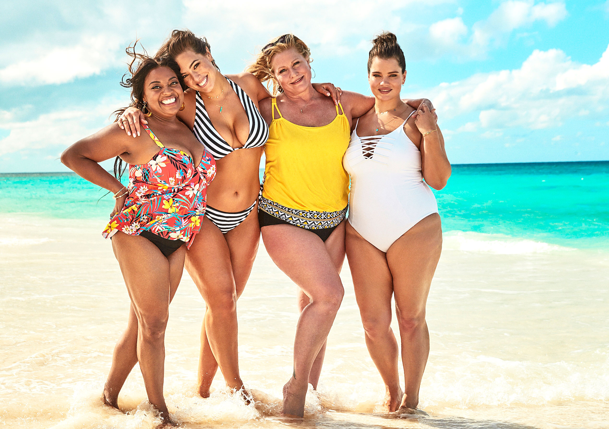 Ashley Graham Sherri Shepherd Lead Body-Positive Swim Campaign - Sherri Shepherd, Ashley Graham, Emme and Tara Lynn (from left) model styles from Swimsuits For All.