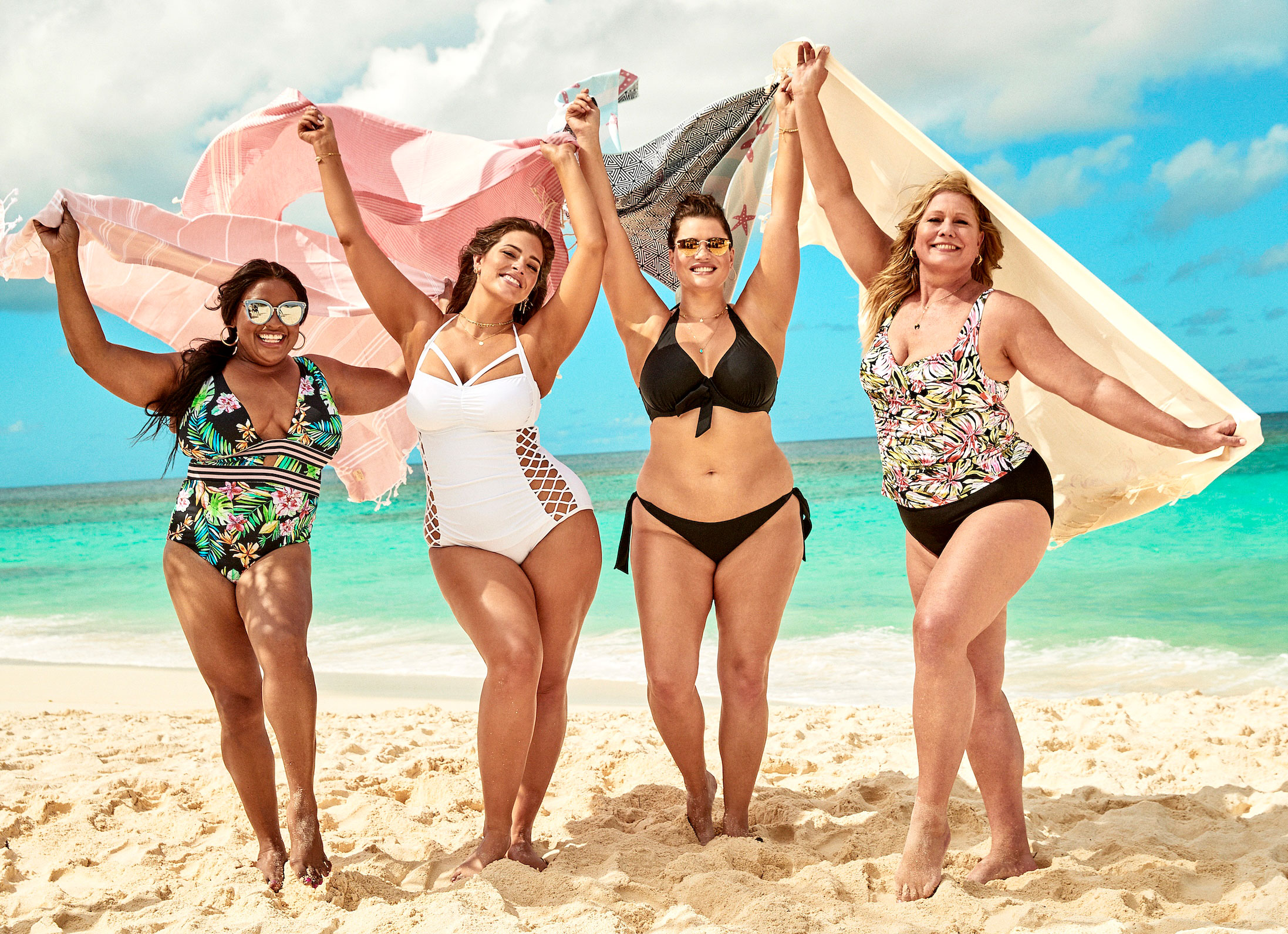 Ashley Graham Sherri Shepherd Lead Body-Positive Swim Campaign - At 36, Lynn, second from right, was the oldest Sports Illustrated Swimsuit rookie to date in the iconic magazine's 2019 edition.
