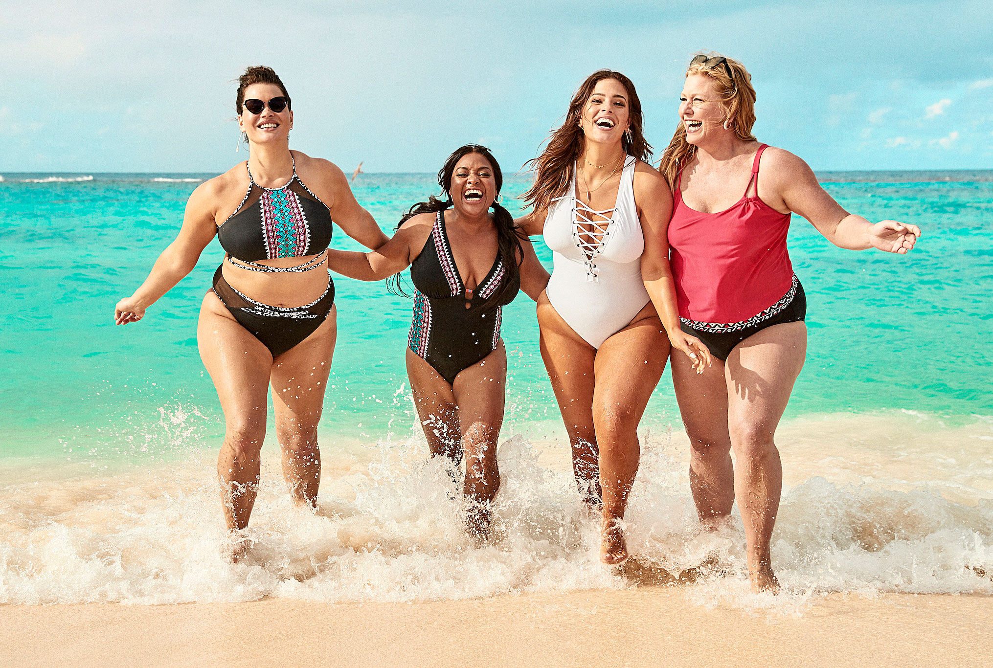 "Ashley Graham Sherri Shepherd Lead Body-Positive Swim Campaign - ""I'm the kind of girl who wants to go to the beach and feel supported but also sexy,"" Graham, in white, told Us in January 2019. ""I don't want to have to think about wearing something matronly."""