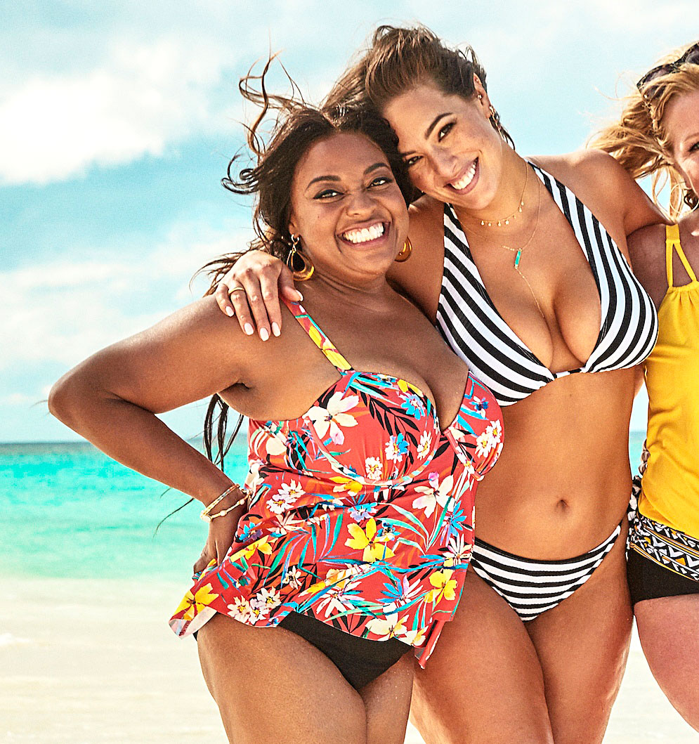 Ashley Graham Sherri Shepherd Lead Body-Positive Swim Campaign - Plus-size model Ashley Graham and comedian Sherri Shepherd lead the pack in a new body-confident swimsuit campaign. The pair are seen flaunting their voluptuous figures in a colorful beach photoshoot in a collaboration between Swimsuits For All and KingSize.
