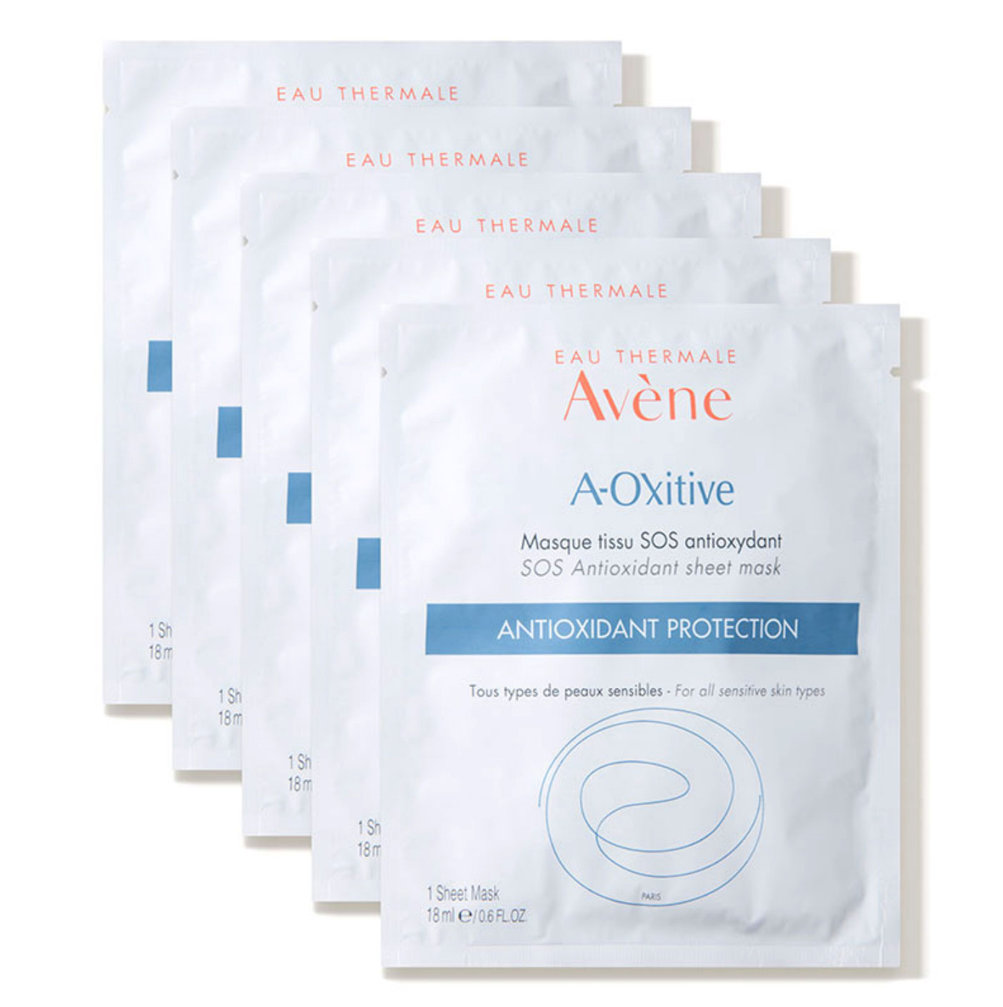 Avène A-OXitive SOS Antioxidant Protection Sheet Mask Best New Products - Try this soothing vitamin C and E-infused sheet mask post-procedure or when your skin is feeling dull and tired for an immediate radiance boost. $50 for 5 masks, dermstore.com