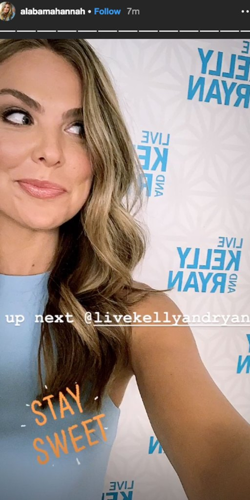 Bachelorette Hannah Brown on 'Live With Kelly and Ryan' After Diss Selfie